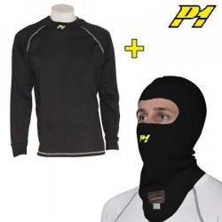 Tee-shirt + cagoule P1 FIA - Noir