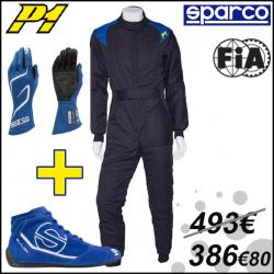PACK Combinaison P1 Noir + Bottines et Gants Sparco - FIA