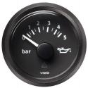 Pression d'huile VDO Vision Ø 52 - 0-5 bars - fond noir - cerclage noir
