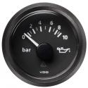Pression d'huile VDO Vision Ø 52 - 0-10 bars - fond noir - cerclage noir