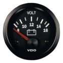 Voltmètres VDO Vision  Diamètre 52 - 8-16 volts - Fond Noir