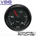 Pression turbo VDO mécanique (Vision) Diamètre 52 - -1/1.5 bars - fond noir - cerclage noir