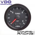 Pression turbo VDO mécanique (Vision) Diamètre 52 - -1/3 bars - fond noir - cerclage noir